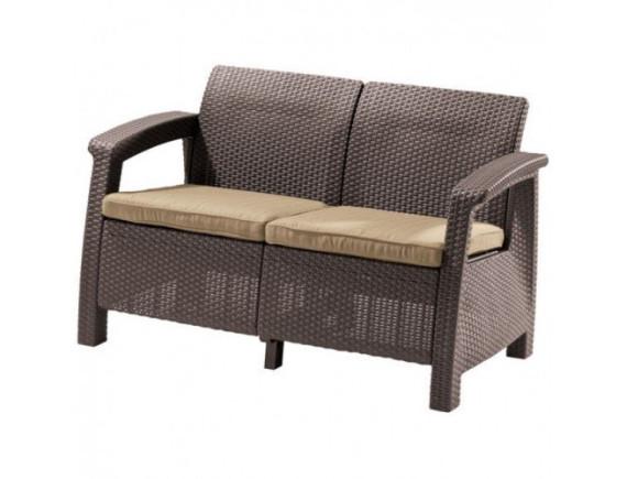 Диван под искусственный ротанг Corfu Love Seat, коричневый