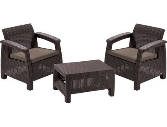 Набор уличной мебели (два кресла, стол) Сorfu II Weekend Set, коричневый