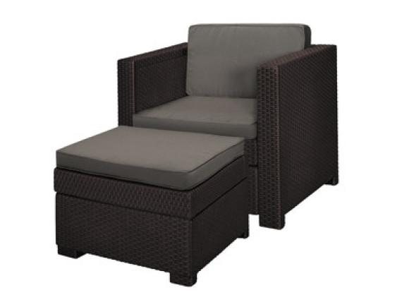 Набор мебели Provence Chillout (кресло и пуф-столик), коричневый