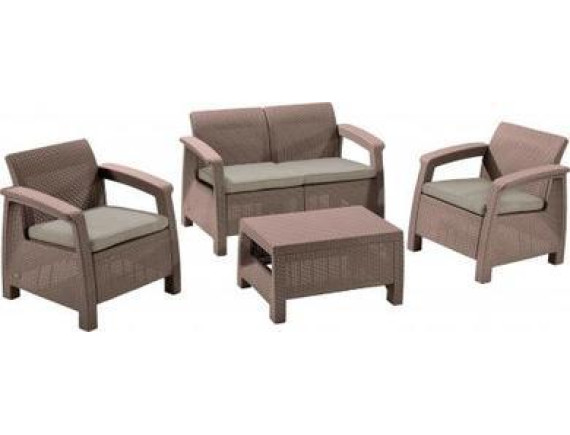 Набор уличной мебели (два кресла, стол) Сorfu II Weekend Set, капучино