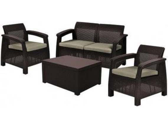 Набор уличной мебели (скамья двухместная, столик, два кресла) Corfu II Box Wikbrw, коричневый