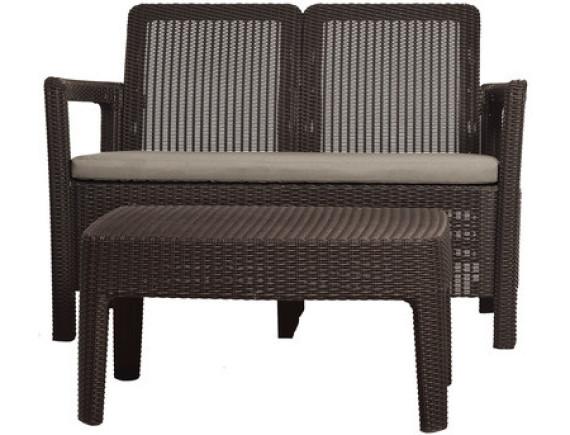 Набор уличной мебели Tarifa Sofa + Table (скамья, стол), коричневый