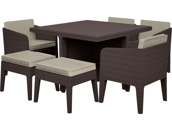 Комплект мебели Columbia dining set (7 предметов), коричневый