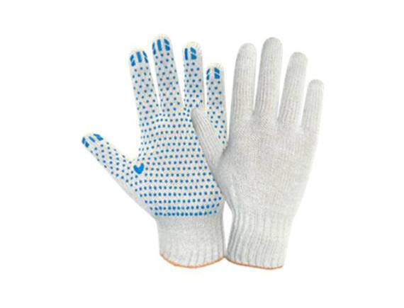 """Рабочие перчатки трикотажные (белые) с ПВХ покрытием """"точка"""""""