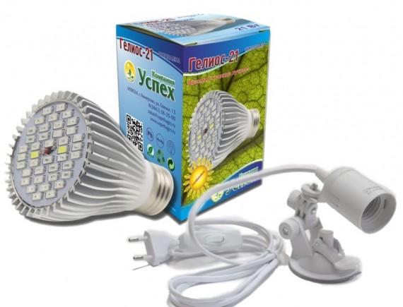 Комплект: фитолампа «ГЕЛИОС» 21 и держатель для крепления ламп на присоске