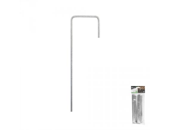 Шпилька металлическая оцинкованная 20см, ширина 3см для крепления агротканей, спанбонда, блистер 20шт