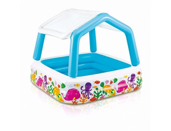 """Детский надувной  бассейн """"Домик с навесом""""  157*157*122 Intex"""