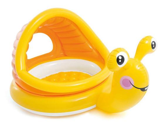 """Детский надувной бассейн """"Ленивые улитки"""" 145x102x74см с навесом, Intex"""