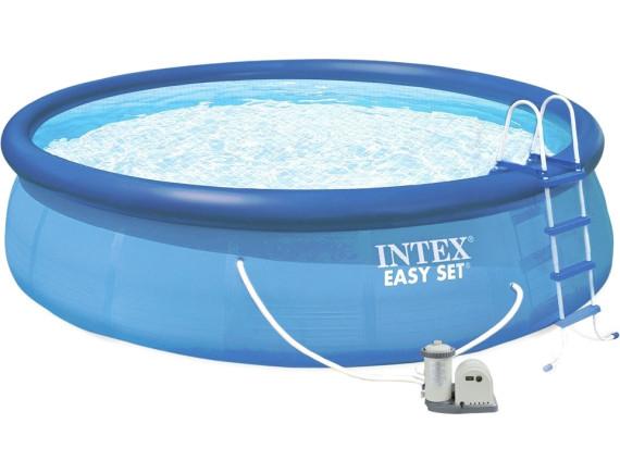 Надувной бассейн Intex EASY SET 549х122см +фильтр-насос 5678 л.ч, лестница, тент, подложка