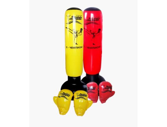 Боксерский набор надувной (груша 152 см + перчатки) Желтый