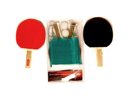 Набор для игры в настольный теннис (2 ракетки, 2 шарика, сетка с креплениями)