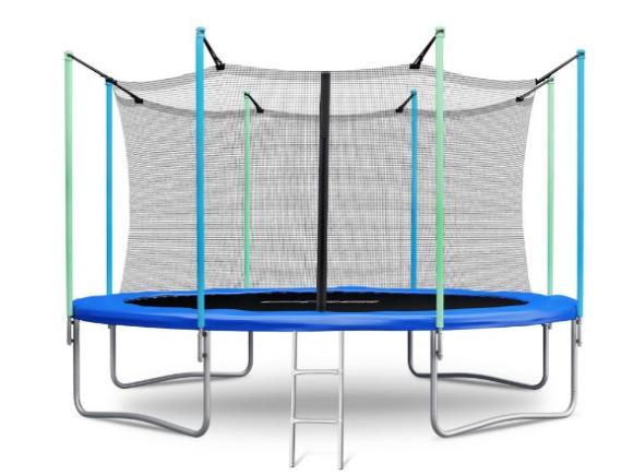 Батут Atlas Sport 374 см - 12 ft с внутренней сеткой и лестницей