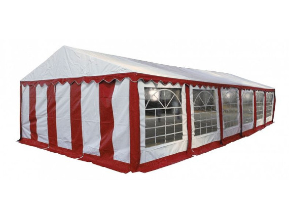 5x12м, Р512201R Тент-шатер ПВХ, цвет белый с красным