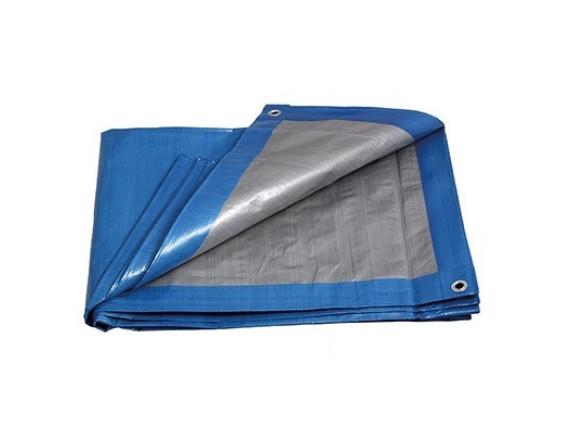Тент высокопрочный непромокаемый Тарпаулин, плотность 180г/м2, 3х4м, цвет синий/серебристый