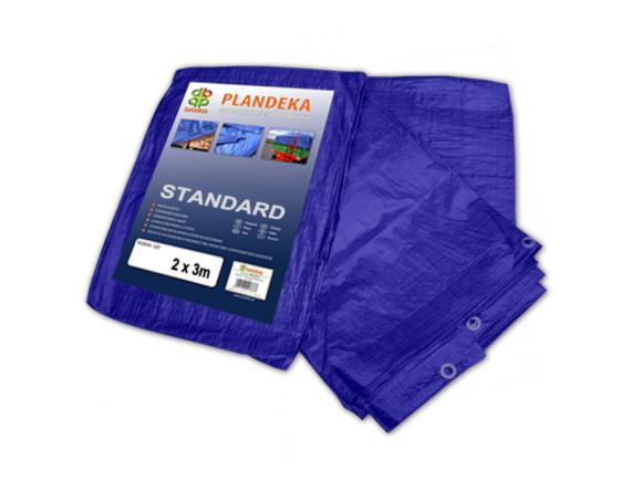 Тент высокопрочный непромокаемый Тарпаулин STANDART, плотность 50г/м2, 2х3м, цвет синий, Польша
