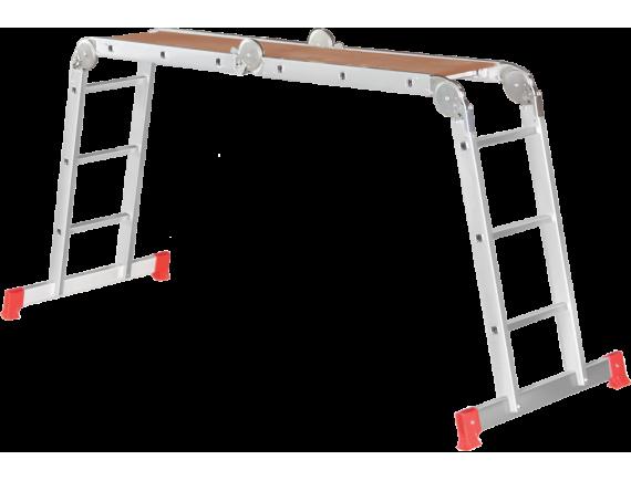 Четырехсекционная лестница-трансформер с помостом Новая Высота (4x3)