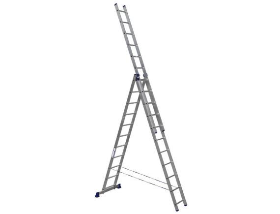 Лестница трехсекционная Алюмет 3х11 ступеней (5311)