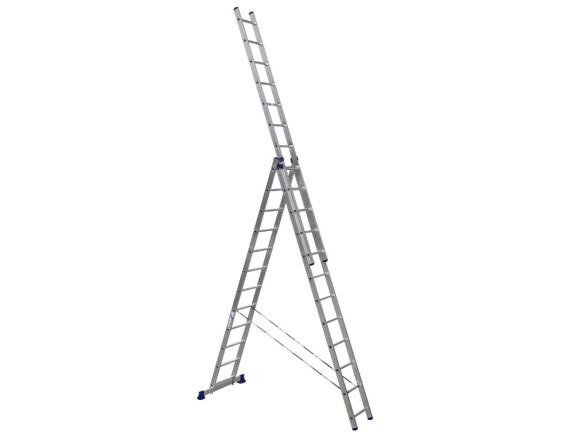 Лестница трехсекционная Алюмет 3х12 ступеней (5312)
