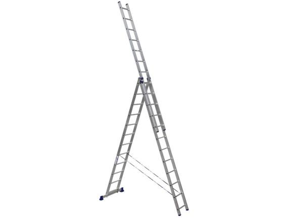 Лестница трехсекционная Алюмет 3х12 ступеней (6312)
