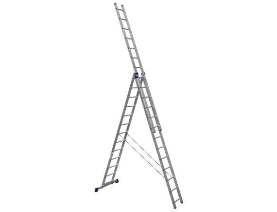 Лестница трехсекционная Алюмет 3х13 ступеней (6313)