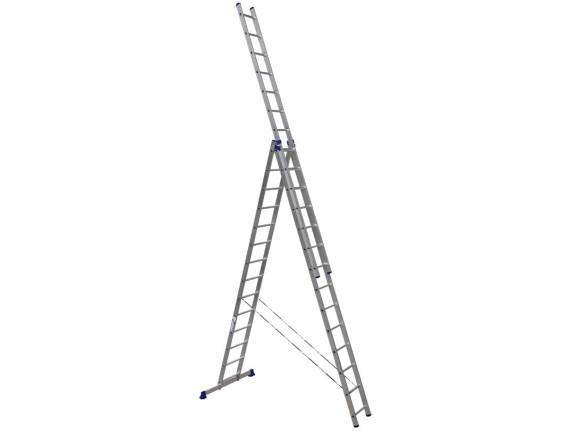 Лестница трехсекционная Алюмет 3х14 ступеней (6314)