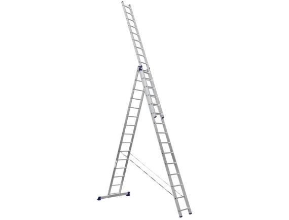 Лестница трехсекционная Алюмет 3х15 ступеней (6315)