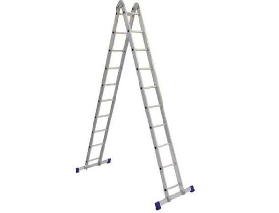 Лестница двухсекционная шарнирная Алюмет (2х9 ступеней)