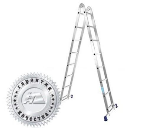 Лестница двухсекционная шарнирная Алюмет (2х6 ступеней)