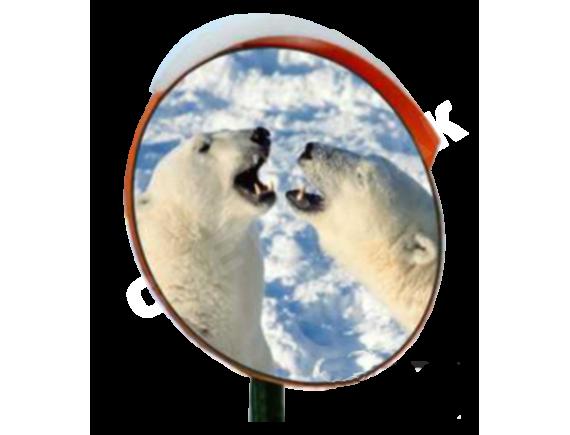 Зеркало дорожное с устройством электрообогрева с козырьком круглое