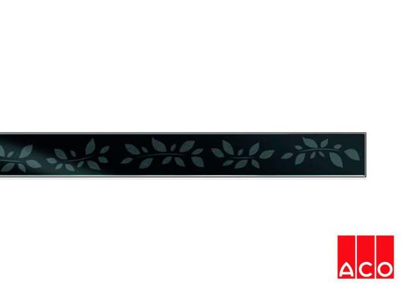 Решётка из стекла (черная с рисунком) для прямого канала ACO ShowerDrain E-line