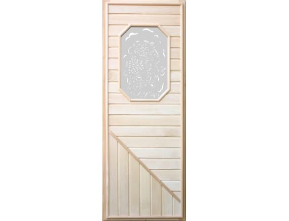Дверь для бани (со стеклом 8-ми угольным)