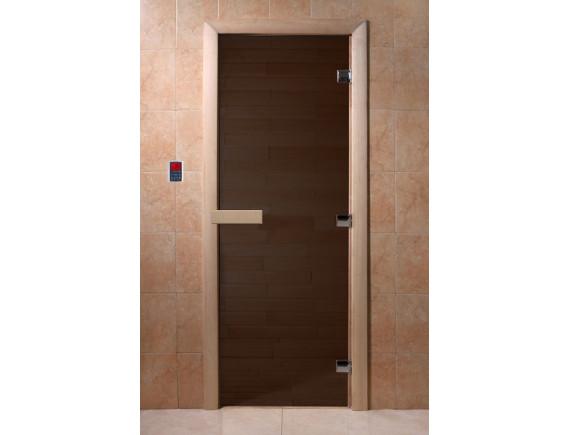 """Дверь для бани """"Теплая ночь"""" (бронза матовая, коробка КЕДР)"""