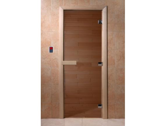 """Дверь для бани """"Теплый день"""" (бронза, коробка хвоя)"""