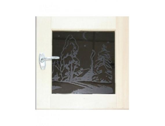 Окно-форточка для бани ART (стеклопакет, липа)
