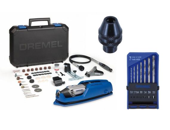 Многофункциональный инструмент DREMEL 4000LW (4000-4/65) + кулачковый патрон + набор сверл